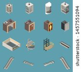 isometric icons set with... | Shutterstock .eps vector #1457551094