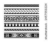 maori black and white texture... | Shutterstock .eps vector #1457553224