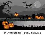 spooky halloween backgrounds ... | Shutterstock .eps vector #1457585381