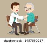 doctor examining old patient...   Shutterstock .eps vector #1457590217
