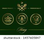 vector honey vintage logo and... | Shutterstock .eps vector #1457605847