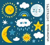 vector cute set of night icons  ... | Shutterstock .eps vector #1457613791