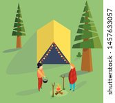 couple standing at the campfire ... | Shutterstock .eps vector #1457633057