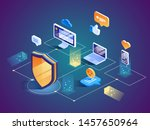 isometric security data... | Shutterstock .eps vector #1457650964