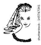 coy bride   retro clip art... | Shutterstock .eps vector #145767341