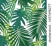 trendy summer tropical leaves...   Shutterstock .eps vector #1457698277