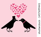 two funny crows  a gentleman... | Shutterstock .eps vector #1457699441