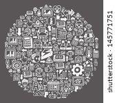 doodle pattern    blackboard... | Shutterstock .eps vector #145771751