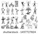 retro circus performance set... | Shutterstock .eps vector #1457727824