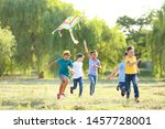 Children Flying Kite On Summer...