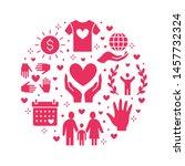 charity vector circle banner... | Shutterstock .eps vector #1457732324