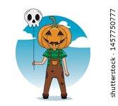 boy dressed as a pumpkin with a ... | Shutterstock .eps vector #1457750777