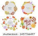 round frame with pumpkin fruits ... | Shutterstock .eps vector #1457766497