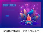 woman sitting in lotus position ... | Shutterstock .eps vector #1457782574