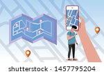 man holding and using smart... | Shutterstock .eps vector #1457795204