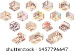 vector isometric home rooms.... | Shutterstock .eps vector #1457796647