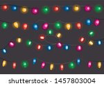 christmas lights. colorful xmas ... | Shutterstock .eps vector #1457803004