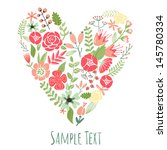 floral heart card. cute retro... | Shutterstock .eps vector #145780334
