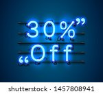 neon frame 30 off text banner.... | Shutterstock .eps vector #1457808941