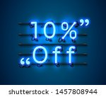 neon frame 10 off text banner.... | Shutterstock .eps vector #1457808944