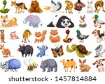 diverse set of isolated animals ... | Shutterstock .eps vector #1457814884