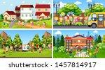set of scenes in nature setting ... | Shutterstock .eps vector #1457814917