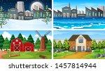set of scenes in nature setting ... | Shutterstock .eps vector #1457814944