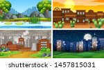 set of scenes in nature setting ... | Shutterstock .eps vector #1457815031