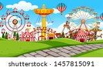 outdoor scene with amusement... | Shutterstock .eps vector #1457815091