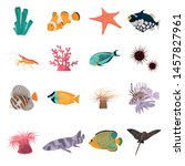 animal coral reefs color flat... | Shutterstock .eps vector #1457827961
