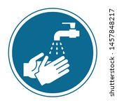 please wash your hands circle... | Shutterstock .eps vector #1457848217