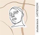 female face silhouette hand... | Shutterstock .eps vector #1457852294