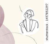 female face silhouette hand... | Shutterstock .eps vector #1457852297