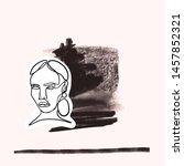 female face silhouette hand... | Shutterstock .eps vector #1457852321