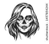 day of dead makeup girl face in ... | Shutterstock .eps vector #1457854244