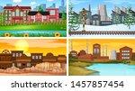 set of scenes in nature setting ... | Shutterstock .eps vector #1457857454