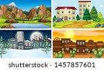 set of scenes in nature setting ... | Shutterstock .eps vector #1457857601