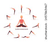 surya namaskar sequence yoga... | Shutterstock .eps vector #1457865467