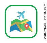map with airplane and location... | Shutterstock .eps vector #1457871074