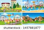 set of scenes in nature setting ... | Shutterstock .eps vector #1457881877