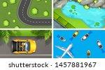 set of top view aerial scenes... | Shutterstock .eps vector #1457881967