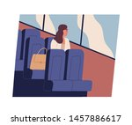 young woman sitting in bus ... | Shutterstock .eps vector #1457886617