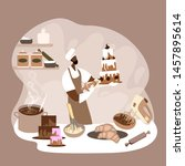 african man glazing a big cake... | Shutterstock .eps vector #1457895614