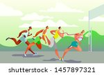 dynamic running people. winner. ... | Shutterstock .eps vector #1457897321