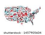 usa map flat hand drawn vector... | Shutterstock .eps vector #1457905604