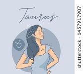 taurus   pretty girl with...   Shutterstock .eps vector #1457917907