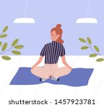 woman with closed eyes sitting...   Shutterstock .eps vector #1457923781