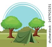 camping tent with trees around... | Shutterstock .eps vector #1457925251