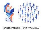 business team. isomeric... | Shutterstock .eps vector #1457939867