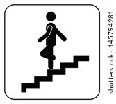 man on stairs going down symbol ... | Shutterstock .eps vector #145794281